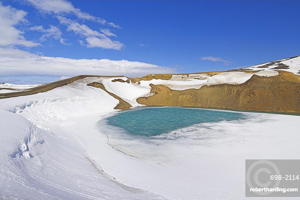Snow covered frozen Viti (Hell) crater near Krafla power plant, Lake Myvatn, North area, Iceland, Polar Regions