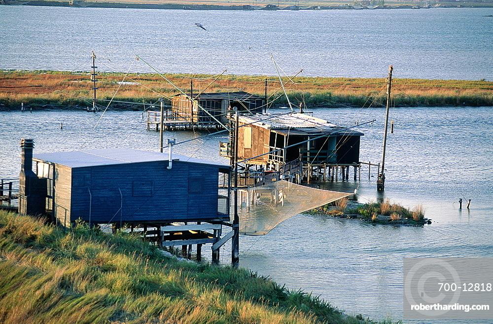 Italy, Emilia Romagna, River Po Delta, Comarchio Swamps, Eels Catching Nets