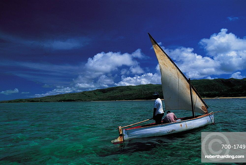 Mauritius, Rodrigues, Fisherman In Sailing Boat