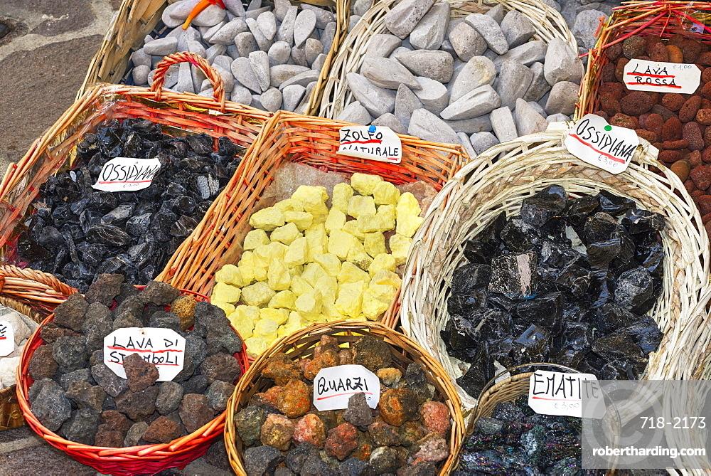 Volcanic rock souvenirs, Lipari Island, Aeolian Islands, UNESCO World Heritage Site, Sicily, Italy, Mediterranean, Europe