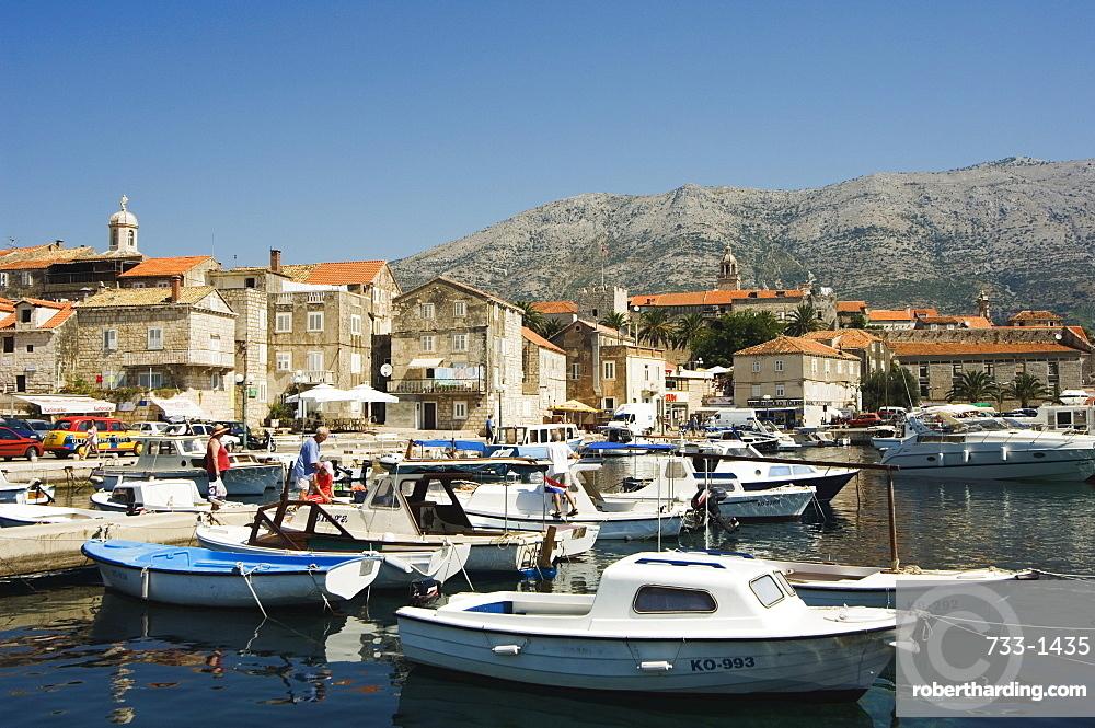 Seafront harbour view of medieval Old Town, Korcula Island, Dalmatia Coast, Croatia, Europe
