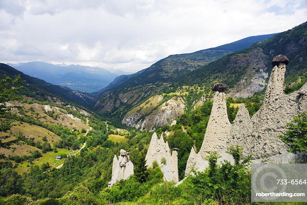 Sandstone formations, Valais, Switzerland, Europe