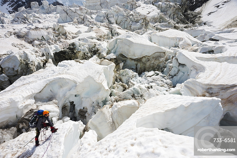 Climber on Bosson Glacier, Chamonix Valley, Rhone Alps, Haute Savoie, France, Europe