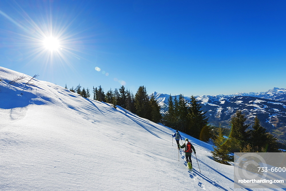Snow shoeing at Les Houches, Chamonix Valley, Rhone Alps, Haute Savoie, France, Europe