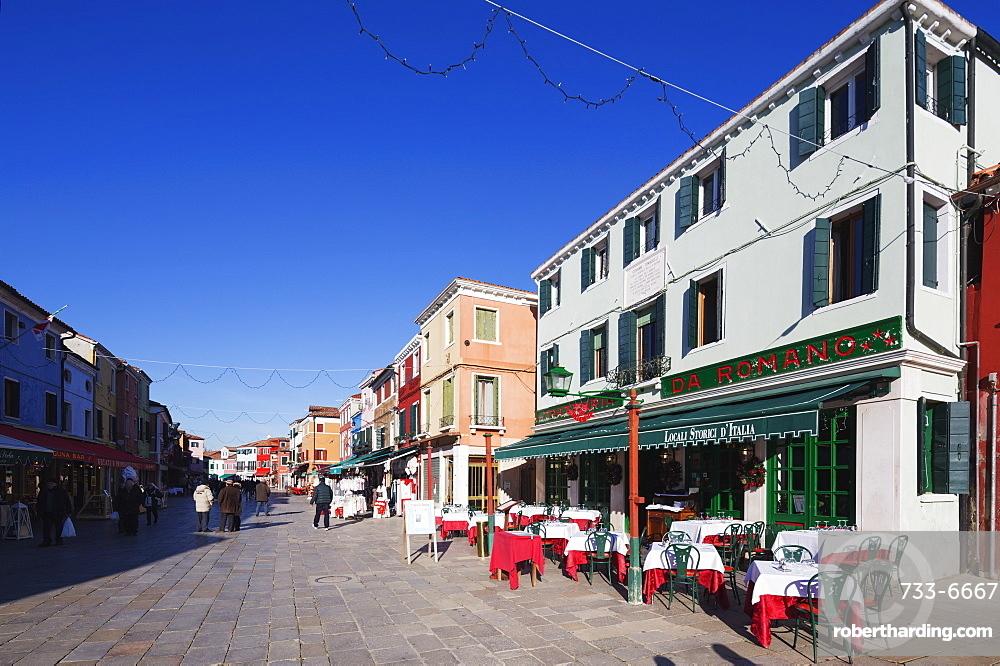 Main street, Burano, Venice, UNESCO World Heritage Site, Veneto, Italy, Europe