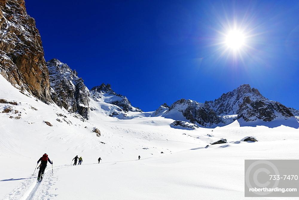 Ski touring on Glacier de Argentiere, Chamonix, Rhone Alpes, Haute Savoie, French Alps, France, Europe