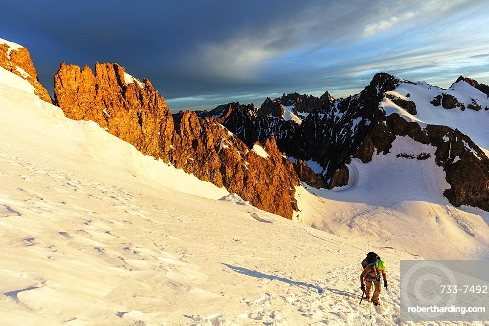 Climber on a glacier, Barre des Ecrins, Ecrins National Park, French Dauphine Alps, Haute Alpes, France, Europe