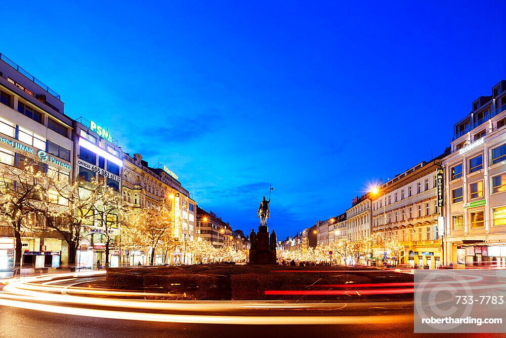 Christmas lights and statue of Ludmila, Prague, Czech Republic, Europe