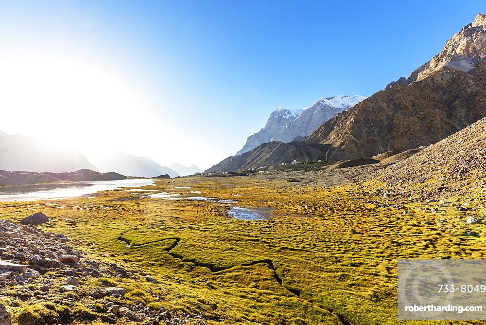Scenery near Moskvina base camp, Tajik National Park (Mountains of the Pamirs), UNESCO World Heritage Site, Tajikistan, Central Asia, Asia