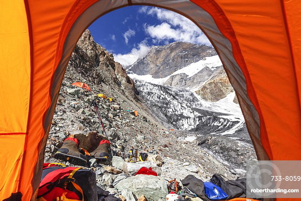 Tents at Camp 1 at 5100m on Peak Korzhenevskaya, 7105m, Tajik National Park (Mountains of the Pamirs), UNESCO World Heritage Site, Tajikistan, Central Asia, Asia