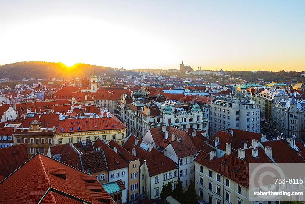 Prague Castle viewed from old town city hall tower at sunset, UNESCO World Heritage Site, Prague, Czech Republic, Europe