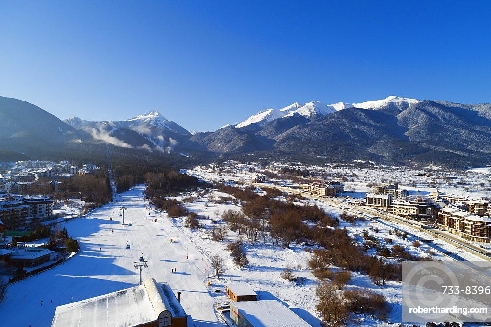 Aerial view of home run winter ski slope, Pirin National Park, UNESCO World Heritage Site, Bansko, Bulgaria, Europe
