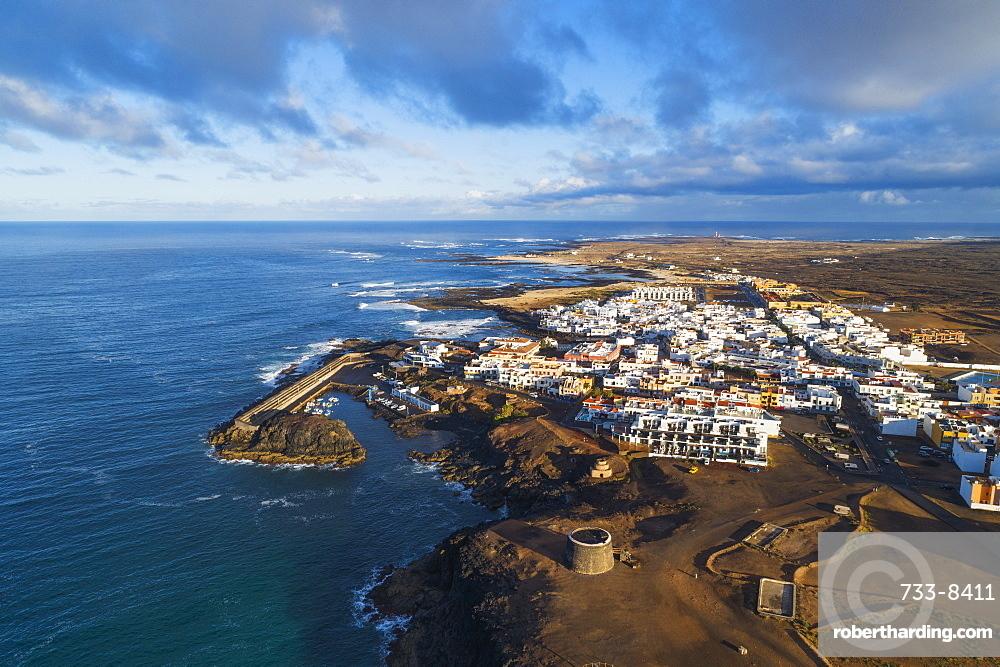 Aerial drone view, El Cotillo, Fuerteventura, Canary Islands, Spain, Atlantic, Europe