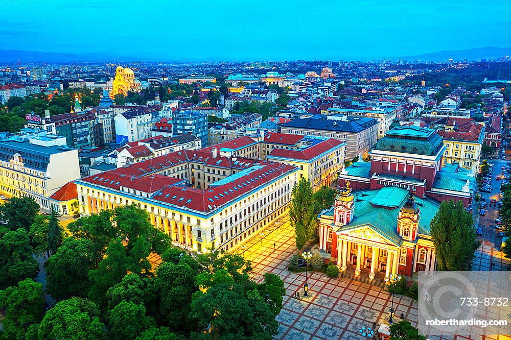 Aerial view by drone of Ivan Vazov National Theatre, Sofia, Bulgaria, Europe