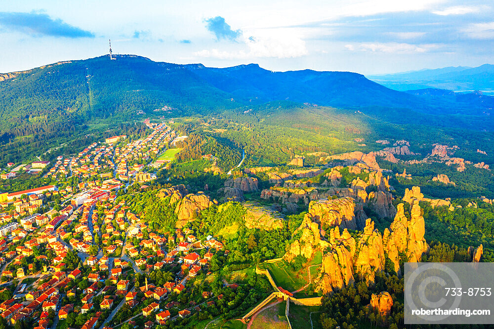 Aerial view by drone of Kaleto Rock Fortress rock formations, Belogradchik, Bulgaria, Europe
