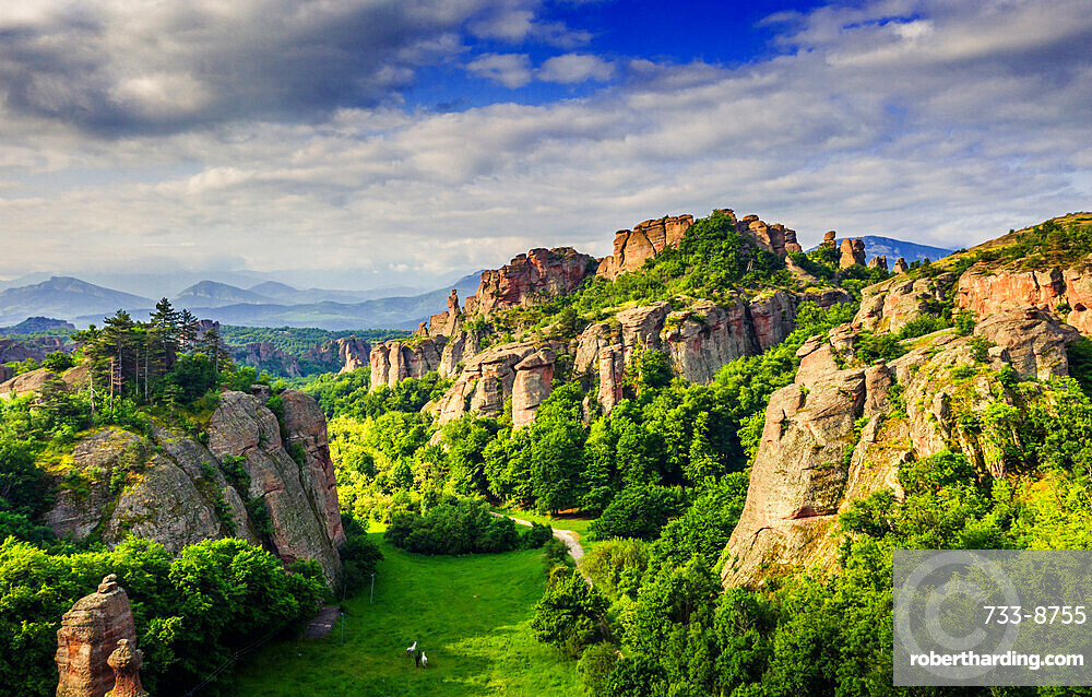 Aerial view by drone of rock formations and forest, Belogradchik, Bulgaria, Europe