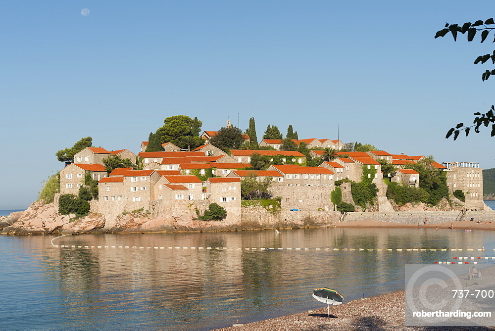 Sveti Stefan and beach, Montenegro, Europe