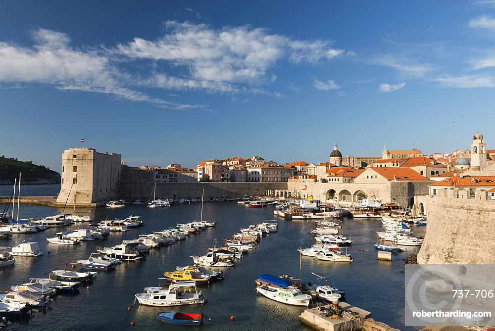 Dubrovnik's small boat harbor, Old Town, UNESCO World Heritage Site, Dubrovnik, Croatia, Europe