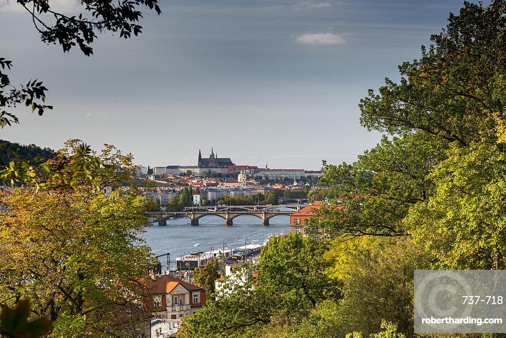 Prague Castle and Mala Strana suburb from Vysehrad Castle with Vltava River and bridges, UNESCO World Heritage Site, Prague, Czech Republic, Europe