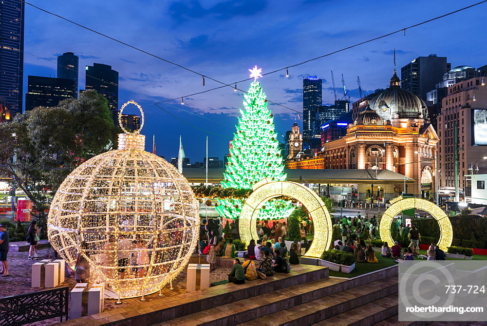 Christmas Tree and decorations at Federation Squares Christmas Square, City of Melbourne, Victoria, Australia, Pacific