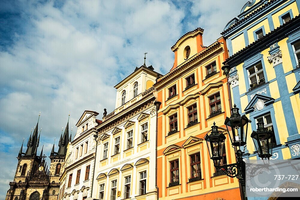 Baroque houses, street lamp and Gothic Tyn Church, Old Town Square, Old Town, Prague, Czechia