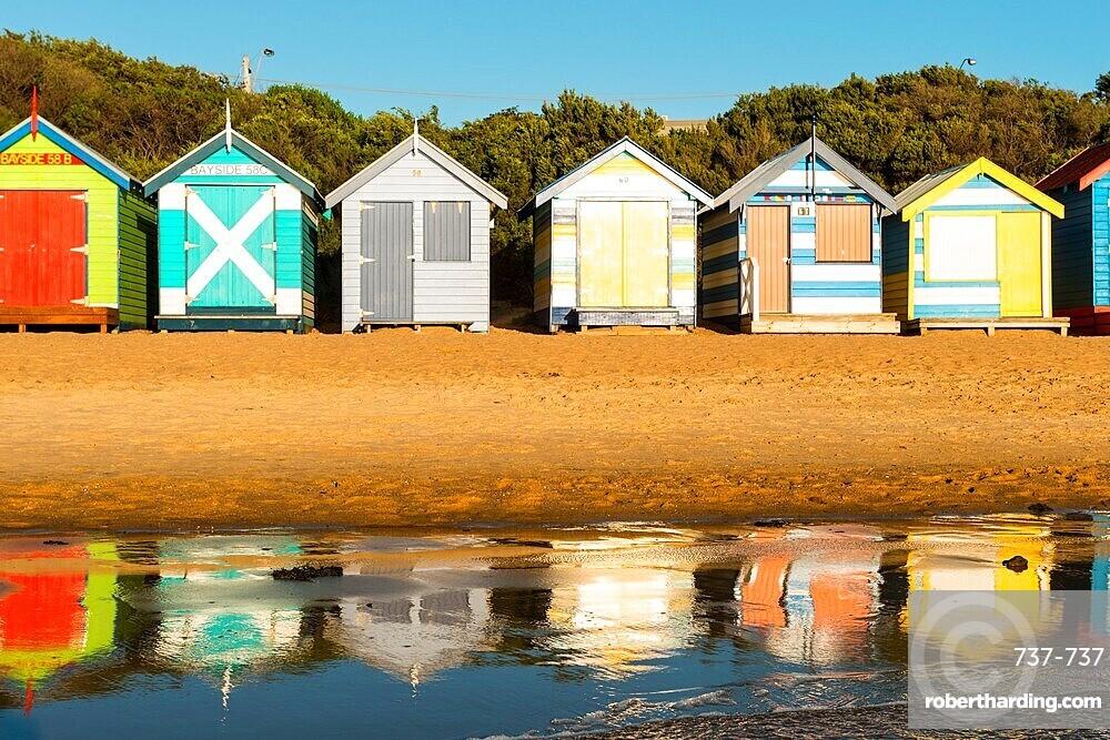 Bathing boxes (beach huts), Brighton, Port Phillip Bay, Victoria, Australia, Pacific