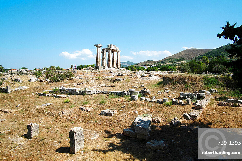 The Temple of Apollo in ancient Corinth, Greece, Europe