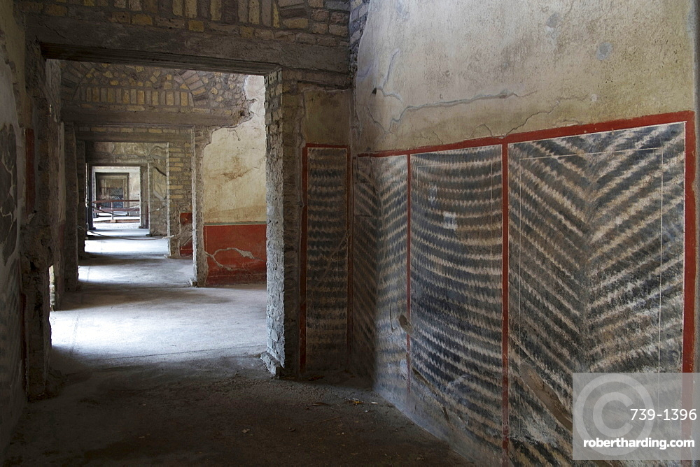 Geometrical corridors Roman frescos at Oplontis Poppea Sabina private villa (Villa Oplontis), Oplontis, UNESCO World Heritage Site, Torre Annunziata, Campania, Italy, Europe