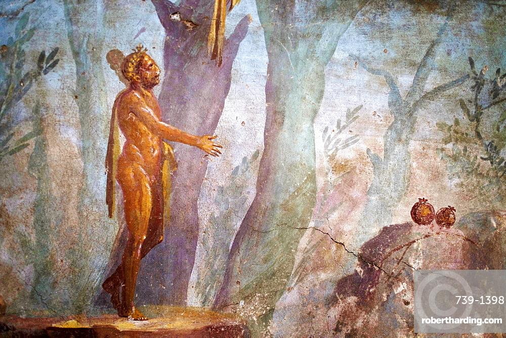 The sin garden room Roman fresco in Oplontis Villa (Villa Oplontis), Oplontis, UNESCO World Heritage Site, Torre Annunziata, Campania, Italy, Europe