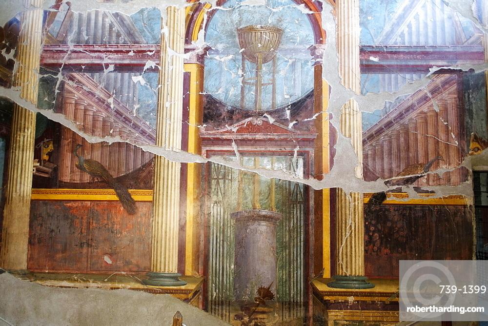 The peacock room in Emperor Nero's wife's villa Poppea Sabina (Villa Oplontis), Oplontis, UNESCO World Heritage Site, Torre Annunziata, Campania, Italy, Europe