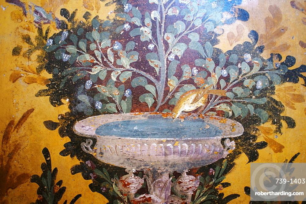 Drinking bird fresco detail in Poppea Sabina's private villa (Villa Oplontis), Oplontis, UNESCO World Heritage Site, Torre Annunziata, Campania, Italy, Europe