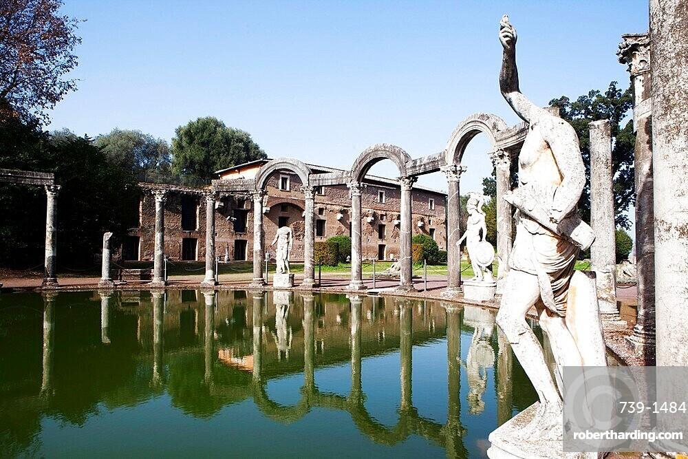 Canopus pool, Villa Adriana (Hadrian's Villa), UNESCO World Heritage Site, Tivoli, Lazio, Italy, Europe
