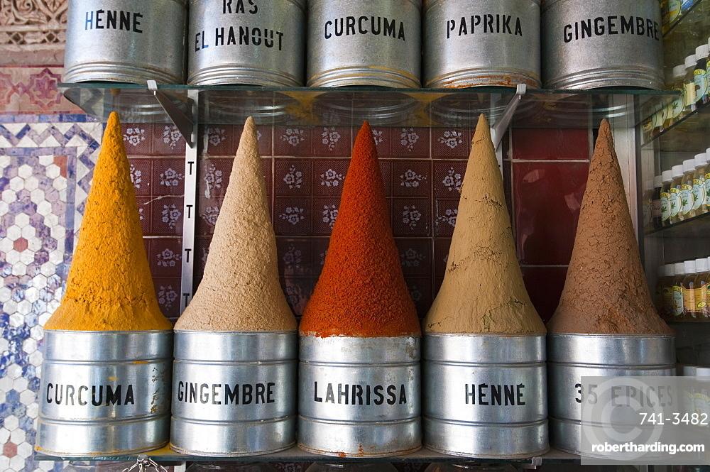 Spices, Medina Souk, Marrakech, Morocco, North Africa, Africa