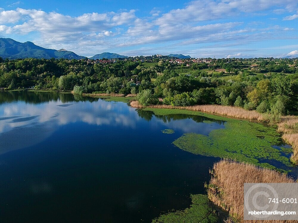 Aerial view of Lake Varese, Varese, Lombardy, Italy, Europe