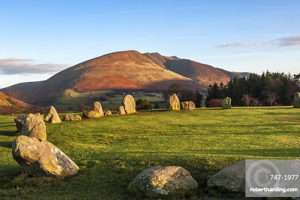 Castlerigg Stone Circle, Saddleback (Blencathra) behind, Keswick, Lake District National Park, UNESCO World Heritage Site, Cumbria, England, United Kingdom, Europe