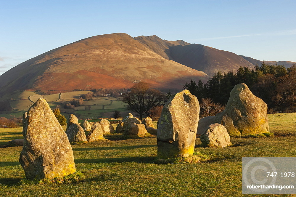 Castlerigg Stone Circle, Saddleback (Blencathra), Keswick, Lake District National Park, Cumbria, England, UK