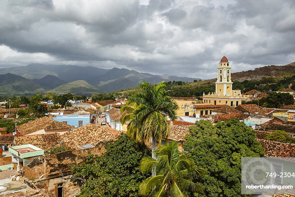 An elevated view of the terracotta roofs and the bell tower of the Museo Nacional de la Lucha, formerly Iglesia y Convento de Sa, Trinidad, UNESCO World Heritage Site, Sancti Spiritus Province, Cuba, West Indies, Caribbean, Central America