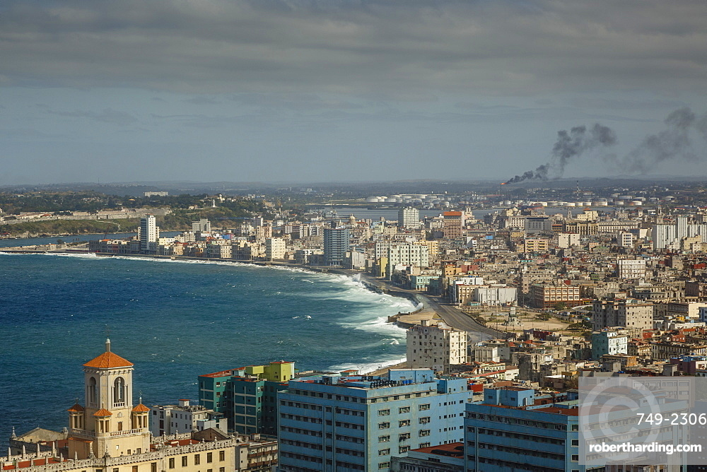 Elevated view over the city and the Malecon waterfront, Havana, Cuba, West Indies, Caribbean, Central America