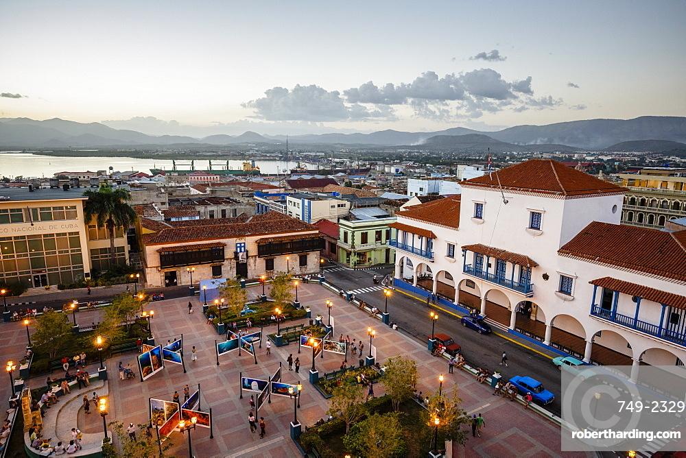 The Ayuntamiento building at Parque Cespedes, Santiago de Cuba, Cuba, West Indies, Caribbean, Central America