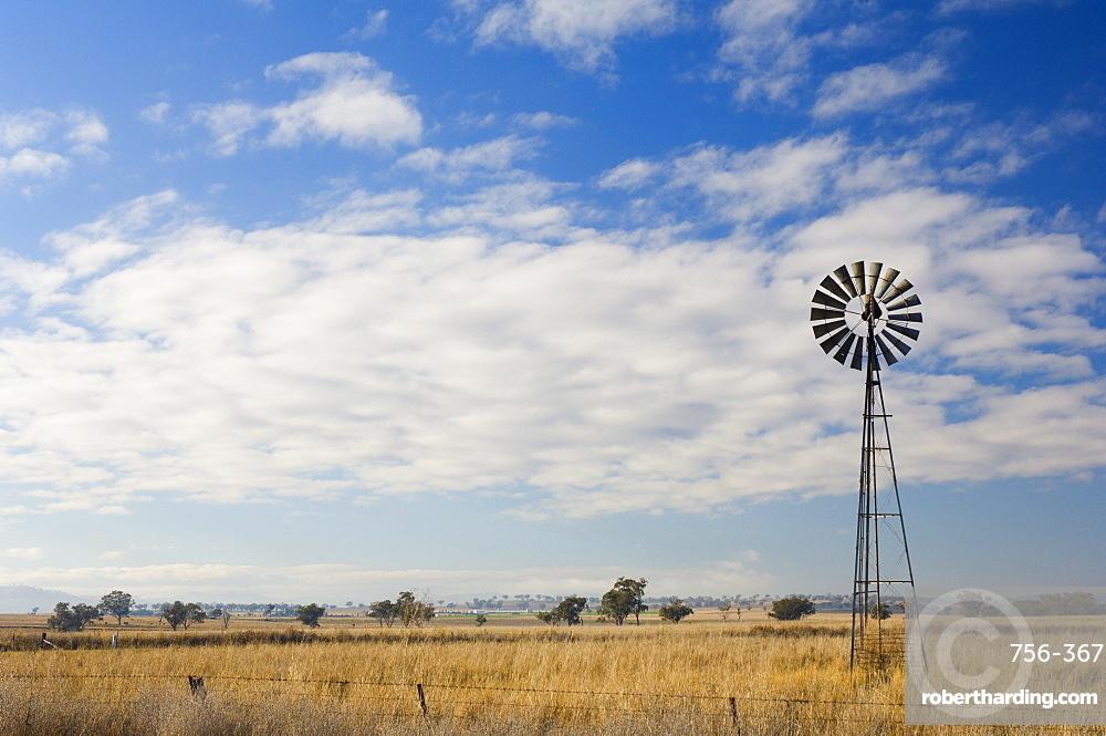 Windmill on pasture, Manilla, New South Wales, Australia, Pacific