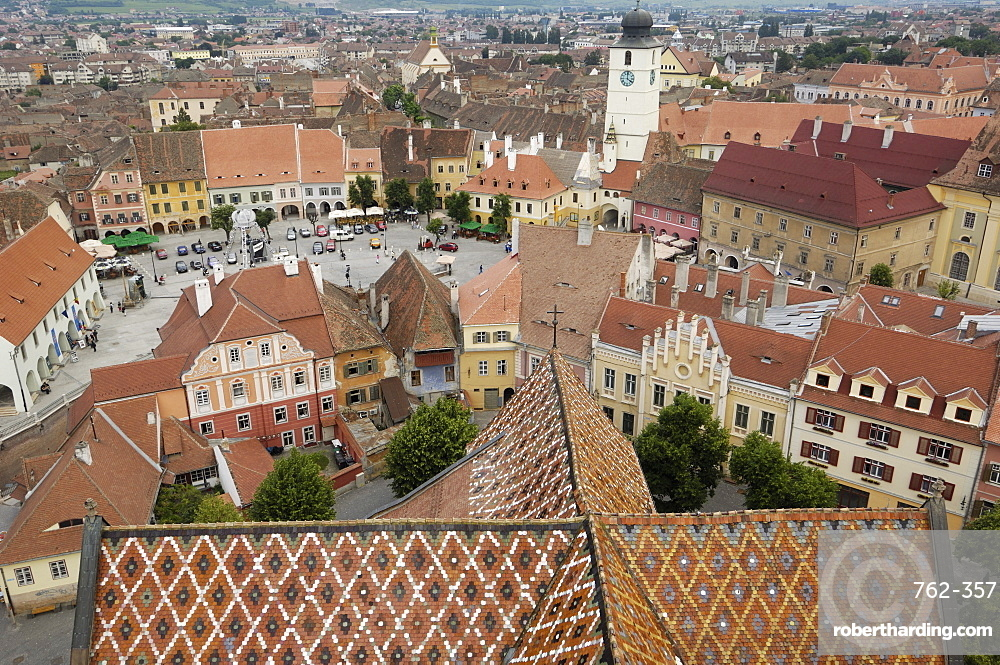 Sibiu from the Evangelical Cathedral, Sibiu, Transylvania, Romania, Europe