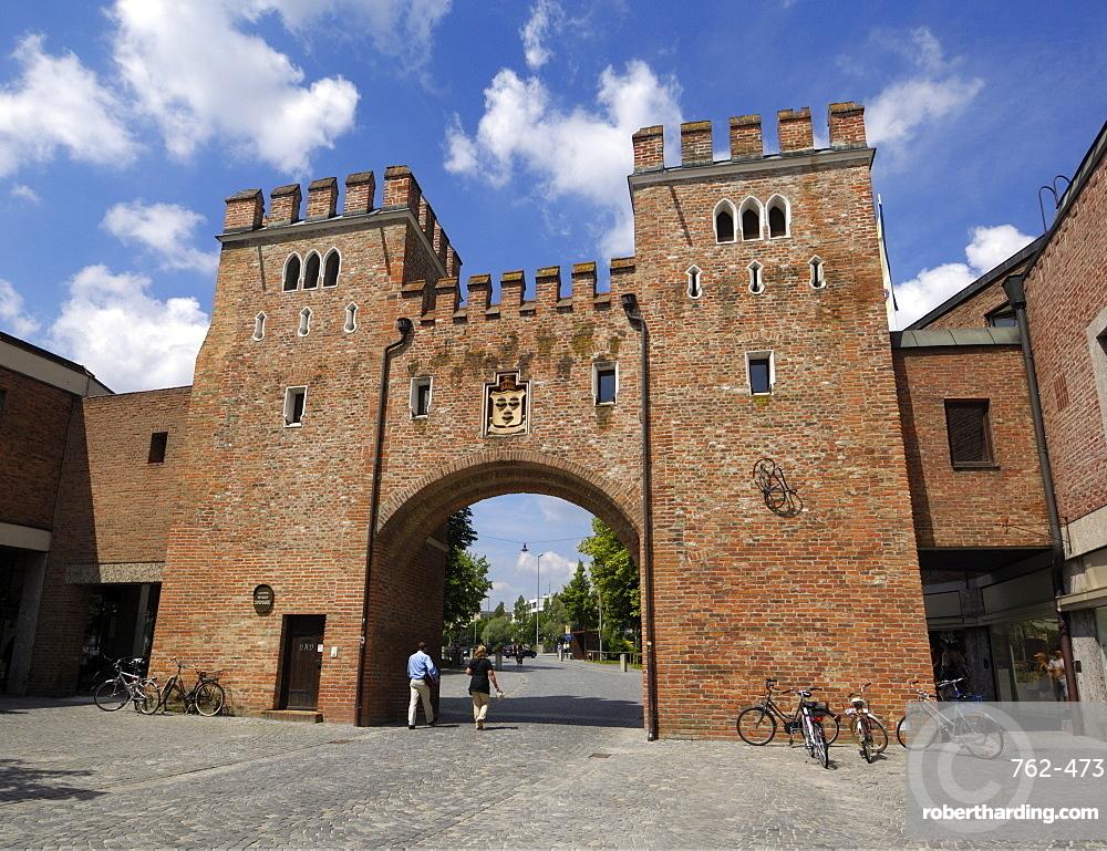 Landtor, Gate tower in the city walls, Landshut, Bavaria, Germany, Europe