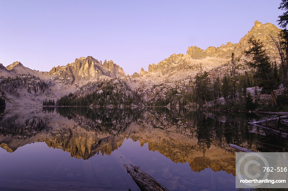Dawn over Baron Lake, Sawtooth Mountains, Sawtooth Wilderness, Sawtooth National Recreation Area, Rocky Mountains, Idaho, United States of America, North America
