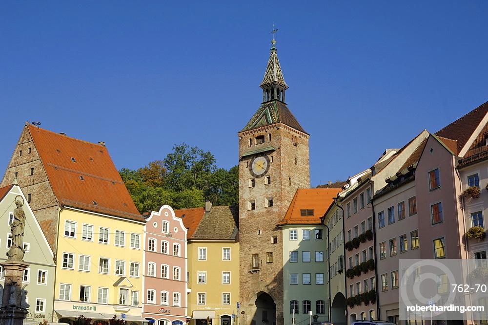 Schmalzturm (Lard Tower) and town houses in Hauptplatz, Landsberg am Lech, Bavaria (Bayern), Germany, Europe