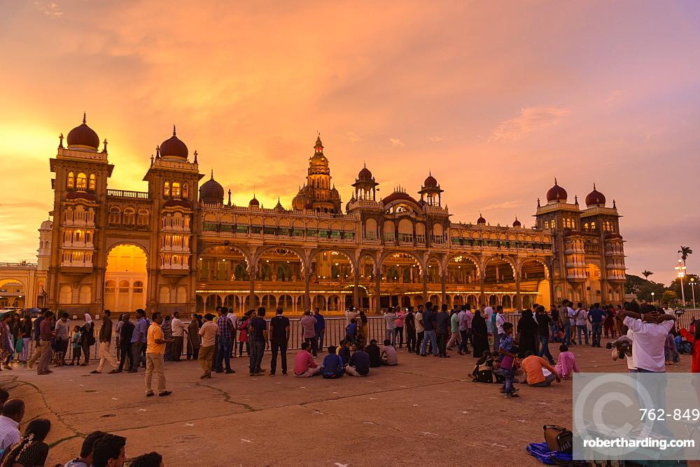 Mysore Palace at sunset, Mysuru, Karnataka, India, South Asia