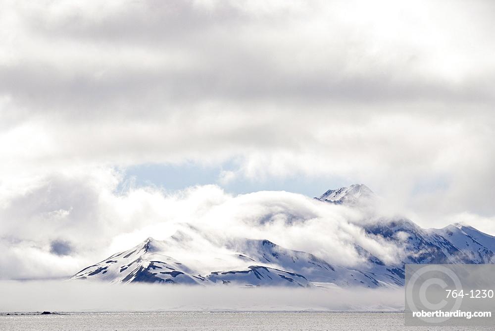 Cloud-covered mountains near Hornsund, Svalbard Islands, Arctic, Norway, Europe