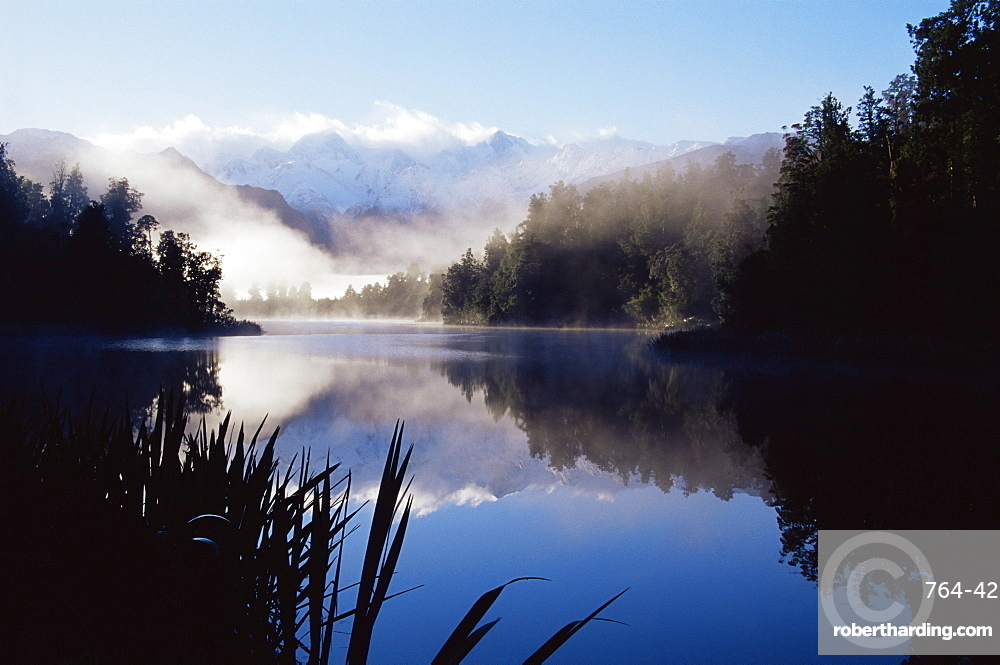 Lake Matheson at dawn, with reflection of the Southern Alps, Westland, South Island, New Zealand, Pacific
