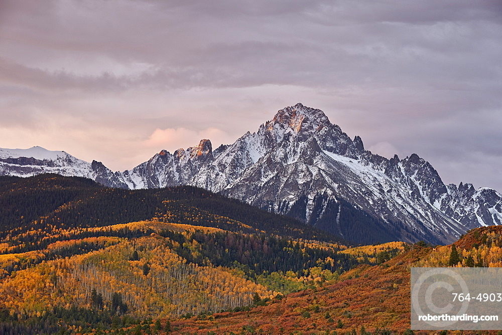 Mount Sneffels at sunrise in the fall, Uncompahgre National Forest, Colorado, United States of America, North America