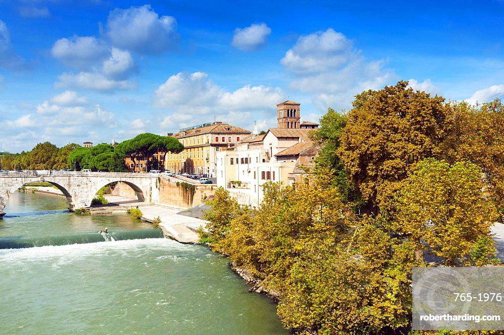 Tiber Island and Ponte Cestio (Cestius bridge), Rome, UNESCO World Heritage Site, Lazio, Italy, Europe