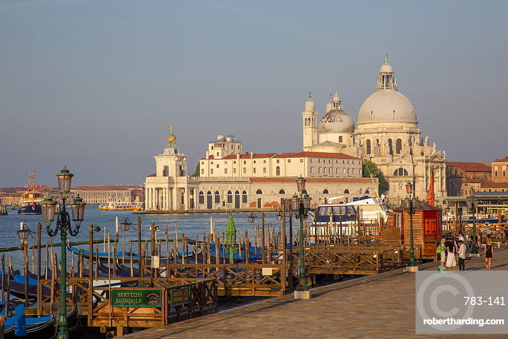 Waterfront by churches in Venice, Italy, Europe